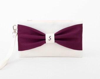 SALE -Bridesmaid gift ,bridesmaid clutch ,MONOGRAMMED ,personalized bridesmaid clutch ,ivory deep purple,eggplant
