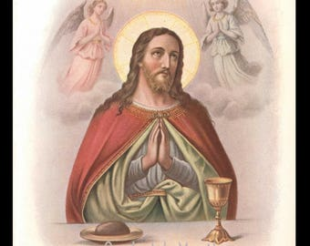 1906 Color Halftone Print - Christ Blessing Bread and Wine