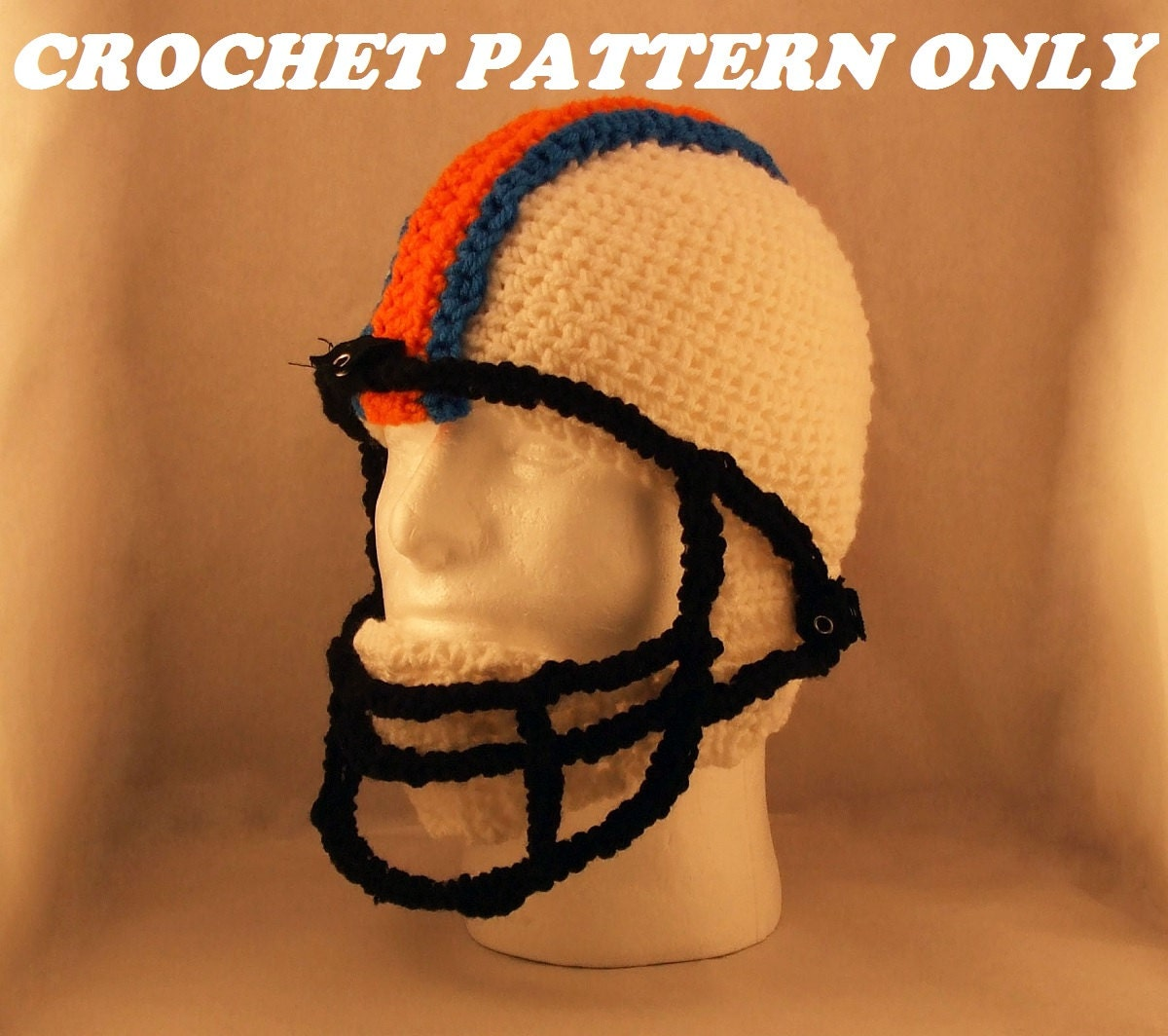 Football helmet with chin strap and face mask crochet