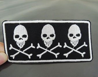 Iron on Patch - Skull Patch Ghost Patches Black and White Three Skulls Iron on Applique Embroidered Patch Large Sewing Patch