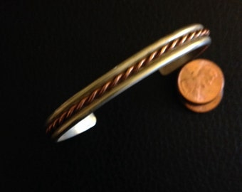 Sterling silver and copper wire cuff bracelet
