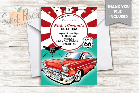 route 66 birthday invite 5x7 digital personalized classic car