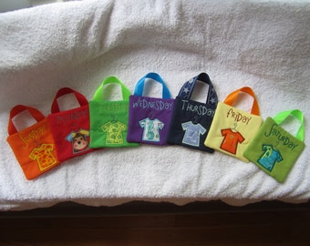 Days Of The Week Closet Organizer for Boys - Set of Seven