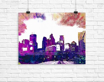 Minneapolis, MN giclee fine art print decor  mother's day gift decor, father's day, birthday anniversary, wedding, thank you, housewarming