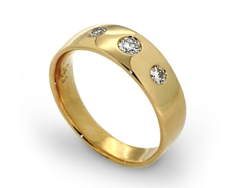 Three Stone Diamond Ring, Unique Diamond Wedding Band, Three Stone Engagement Ring, 14k Gold Band for Women, Mens Wedding Band