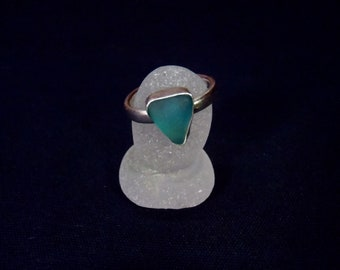 Sea Glass Ring Sz 6 1/4 (M). Solid Sterling Silver Ring With Turquoise Sea Glass Setting. Rare, Genuine Sea Glass. Bezel Set Sea Glass.