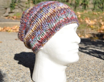 Multi-colored Knit Hat - Wool Ribbed Knit Slouch Hat - Unisex Hat - Men's Hat - Women's Hat - Slouchy Knit Hat
