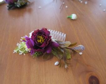 Bridal hair comb, Amaranth comb, Amaranth Flower hair comb for bride or bridesmaids, Rustic wedding, Boho wedding accessory, Country wedding