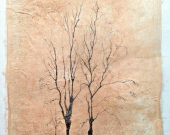 Ink Drawing on teabag, tree painting,teabag art, mixed media, winter trees,original art,tree landscape, sepia drawing,