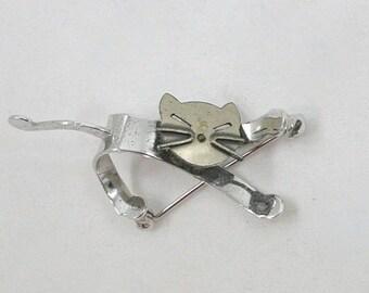 Vintage Beau Sterling Silver Cat Brooch