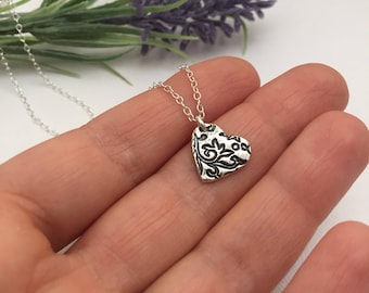 Silver Heart Necklace Gift for Mother Sister Wife Birthday Present Flower Lover Pendant