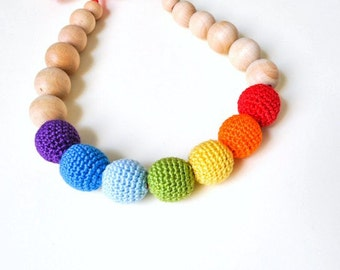 Rainbow Nursing Necklace/Teething Necklaceby SimplyaCircle-Breastfeeding Necklace-Eco-Friendly-Mother's day