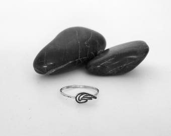 Tiny Angel Wing Charm Stacking Ring