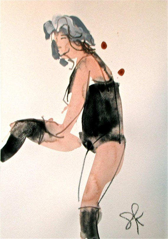 Boudoir Session 6.2 original watercolor nude painting by Gretchen Kelly
