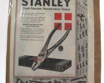 Vintage Stanley Tool Advertisement, The Saturday Evening Post June 6, 1925, Original Magazine Print Ad for Stanley Pliers, Excellent Shape