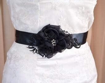 Black Floral Bridal Belt - Black Floral Bridal Sash - Black Ribbon Belt - Wedding Belt - Black Ribbon Bridal Belt - Pure Silk Flower Belt
