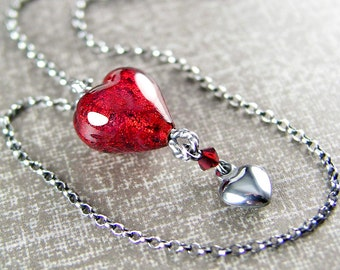 Ruby Red Heart Necklace Sterling Silver Chain Authentic Deep Red Murano Glass Heart Necklace Red Heart Pendant Necklace July Birthstone