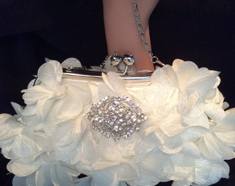 Bridal Clutch Bag, Bridal Purse, White Floral Clutch