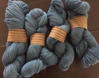 Organic BFL Sport Yarn dyed with Indigo