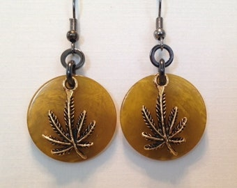 Bakelite Poker Chip Earrings - marijuana leaf - olive green