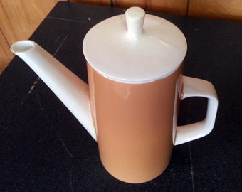 Mikasa Cera Stone Coffee or Tea Pot With Lid - Peach Colored - Made in Japan