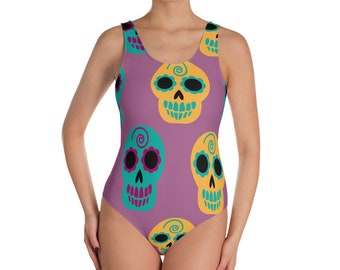 Happy Skull Heads One-Piece Swimsuit