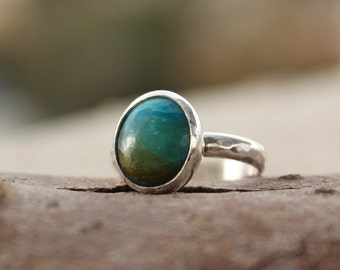 Blue Opal ring, Green turquoise ring, Landscape ring, Earth and sky ring, Blue Opal Gemstone Cabochon ,Hammered silver ring, Blue ring