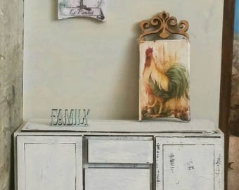 Miniature dollhouse wall plaque in many styles Chicken, Floral and Chalkboard 1:12 Scale