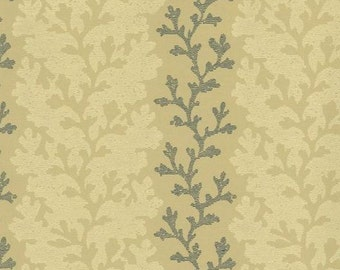 Charcoal Black and Cream  Vine or Coral Trail on Tan - Nature, Natural, Botanical - Wallpaper By The Yard - GE9492