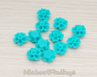 CBC138-TE // Teal Colored Morning Glory Flower Flat Back Cabochon, 6 Pc