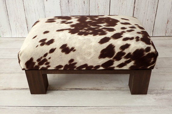 Upholstered Ottoman Cow Print Cowhide Ottoman Fur Stool