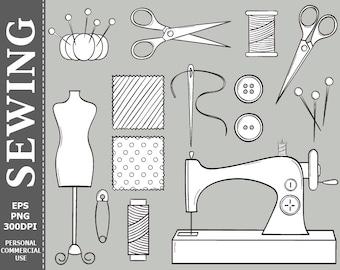 Hand Drawn Digital Sewing Clip Art Sewing Machine, Buttons, Threads, Scissors Clip Art