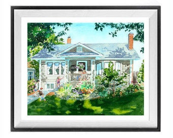 Custom House, Watercolor Painting, Original art, Commissioned painting, From your photos, Car painting, Still life, and More, LaBerge
