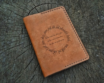 Leather Passport Cover, The Lord of the Rings, The Hobbit, Not All Who Wander are Lost, Leather Passport Holder, Travel Wallet, Tolkien
