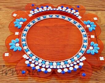 Aarti thali etsy acrylic orange puja thali decorative henna mehndi design thali festive homedecor nikah shadi decor junglespirit Image collections