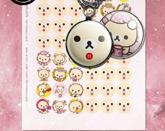 Korilakkuma Digital collage sheet 1inch Us Letter + 4x6 sheet, Printables,pendants,magnets,circles,party stickers,cupcake toppers,bottlecaps