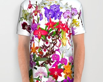 A celebration of orchids all-over print shirt, flower, tropical garden, floral photograph color photography T shirt, sublimation shirt