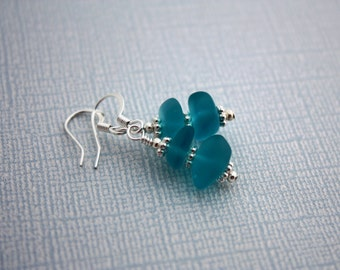 Aqua Blue Sea Glass Earrings, Seaglass Earrings, Beach Glass Earrings Sea Glass Jewelry, Seaglass Jewelry Ocean Jewelry Hawaiian Jewelry 073