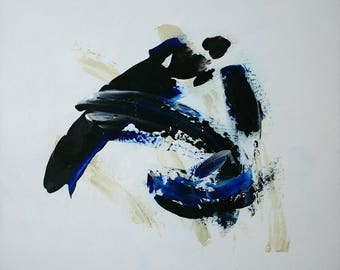 Large Abstract Acrylic Painting White Painting Blue Painting Black Painting Modern Art Contemporary Art