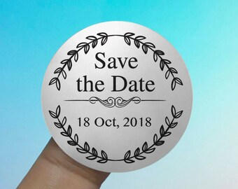 "Personalized Transparent or Silver Foil ""Save the Date"" Labels Stickers Seals #R4073"