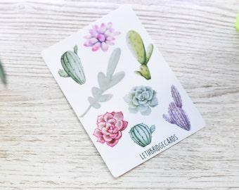 Vinyl Small Watercolour Succulent Decorative Stickers; Cactus Stickers; Succulents Stickers; Planner Stickers; Filofax; Erin Condren