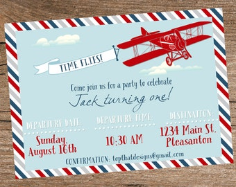 Airplane Birthday Invitation- Digital