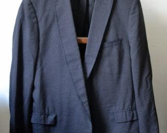 Vintage Charcoal Peak Lapel Formal Jacket Grosgrain Trim Size 40 R Regular Stroller