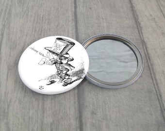 Mad Hatter Pocket Mirror / Mad Hatter Purse Mirror / Makeup Mirror / Alice In Wonderland / Stocking Filler / Party Favour / Handbag Mirror