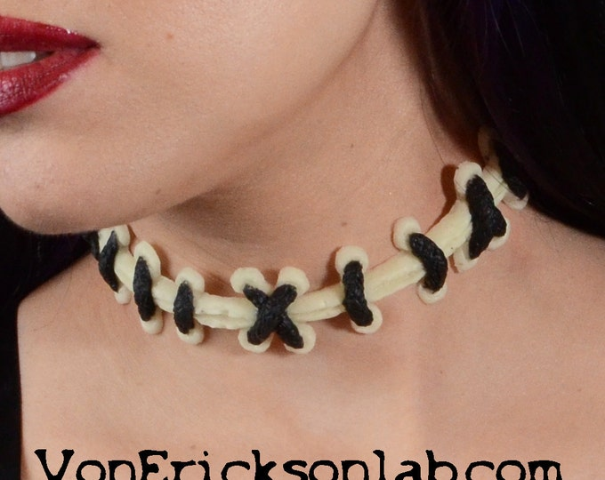Glow in the Dark Bride of Frankenstein Extreme Sized Stitches choker necklace  black stitch/GLOW