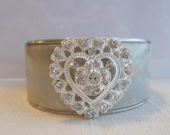 Silver Tone Cuff Bracelet with a Silver and Clear Rhinestone Heart