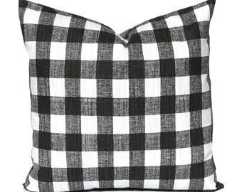 Farmhouse Pillow Cover - Buffalo Check Pillow Cover - Decorative Pillow Cover - Black Pillow - Buffalo Plaid - Sofa Pillow Cover
