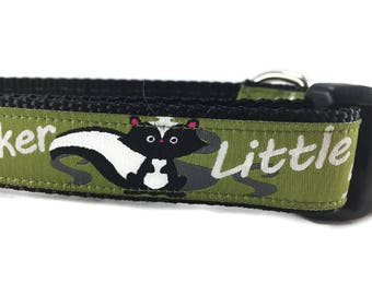 Dog Collar, Little Stinker, 1 inch wide, adjustable, quick release, metal buckle, chain, martingale, hybrid, nylon