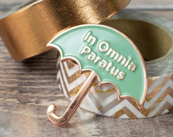 Gilmore Girls Pin - In Omnia Paratus Umbrella Pin - Life & Death Brigade - Gilmore Girls Gift - Copper Boom - Rory Gilmore - Team Logan