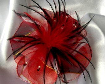 Small flower fabric & feather hair clip and beads 117